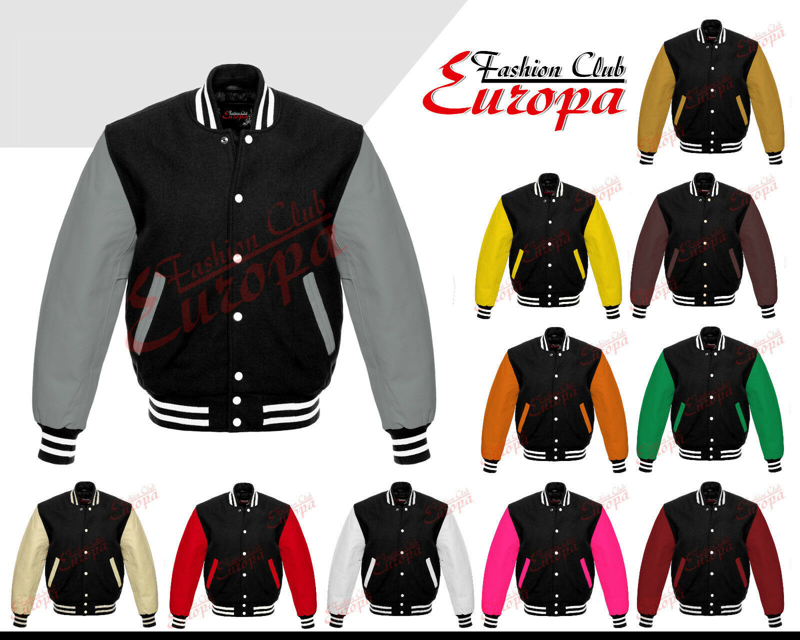 Primary image for Black Varsity  Letterman Wool Jacket with  Real Leather Sleeves XS-4XL
