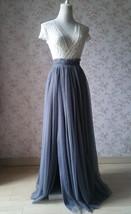 Grey Split Tulle Skirt Grey Long Tulle Skirt One Side High Split Tutu, US0-US30 image 3