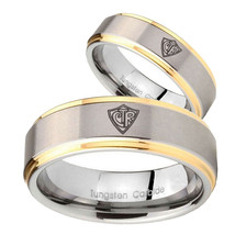 Bride and Groom CTR Step Edges Gold 2 Tone Tungsten Men's Promise Rings Set - $87.98