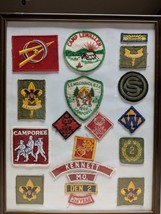 19 Boy Scouts 1968 Badges Patches Framed Collection - $60.61