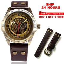 Automatic Watch Men Mechanical Steamnk Vintage Bronze Leather - $54.00