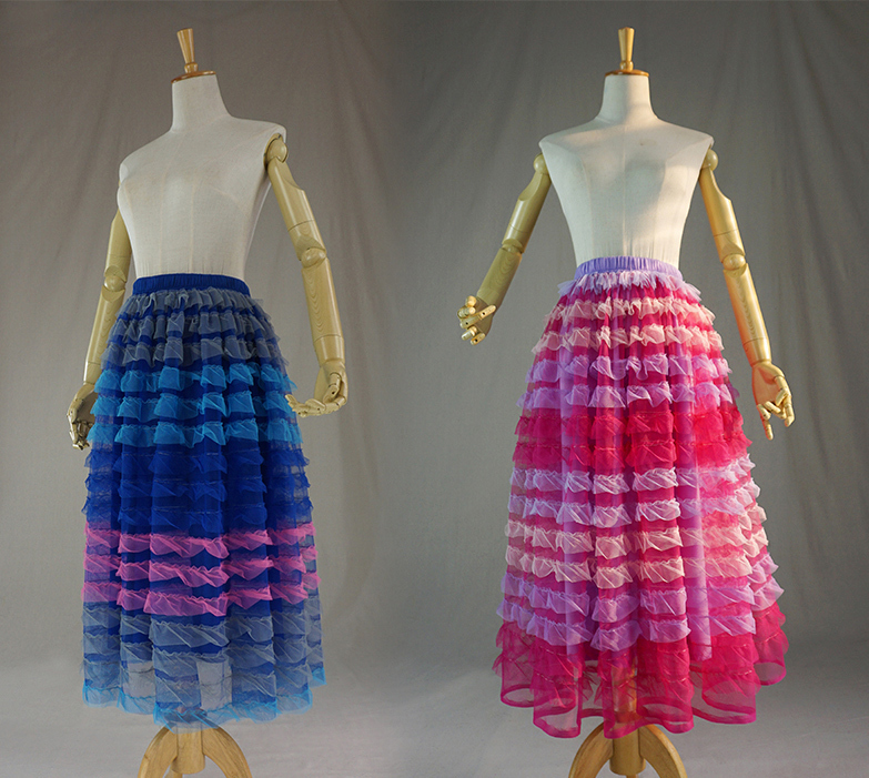 Pink multicolor tulle skirt 6