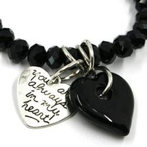 Elastic Bracelet Antica Murrina Venezia, BR844A14, Double Heart Glass Black image 2