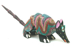 Mexican Oaxacan Wood Carving Armadillo Signed - $84.15