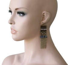 """4"""" Long, Ethnic Style Earrings, Antique Gold Tone, Rhinestone, Pageant. ... - $11.66"""