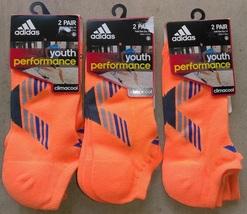 Adidas Climacool Youth Performance Orange/Gray 2 PAIR All Sports Socks S... - $13.99