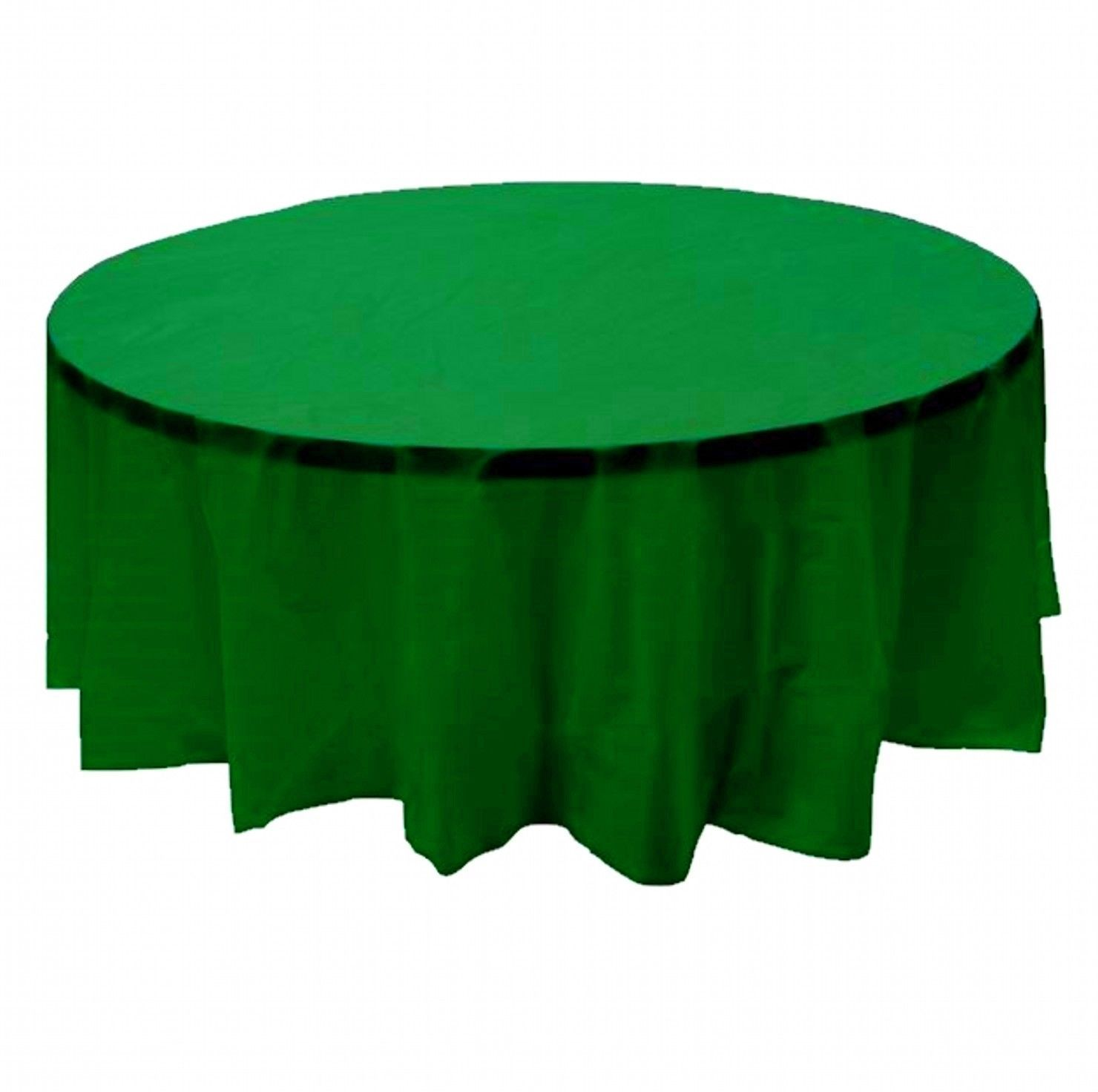"""6 PACK, 84"""" green Round Plastic Table Cover, Economy Table Cloth Reusable"""