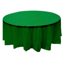 "6 PACK, 84"" green Round Plastic Table Cover, Economy Table Cloth Reusable - $16.45"
