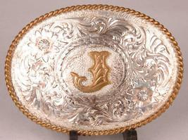"MONTANA SILVERSMITHS Belt Buckle-Sterling Silver Plate-""J""-Montana USA-W... - $116.86"