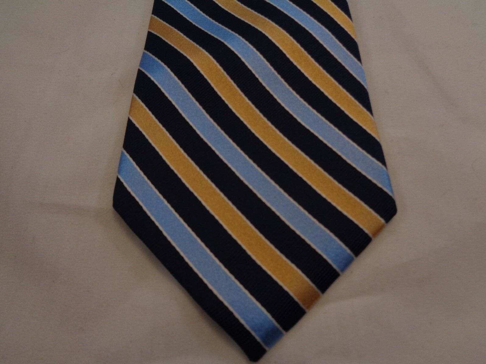 """George Men's Silk Tie GOLD AND BLUE Stripes 57"""" LONG 3.5"""" WIDE SILK NECK TIE"""