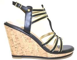 Women's Shoes Dolce Vita TENLEY Gladiator Wedge Sandal Cork Heel Black - $44.99