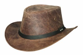 Bullhide PIKES PEAK Genuine Leather Chocolate Outdoor Hat Size S, M, L, XL - $65.00