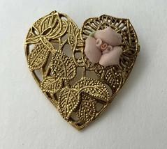 1928 Porcelain Rose Heart Brooch Pin Vintage Gold Tone Floral Leaf Open ... - $19.75