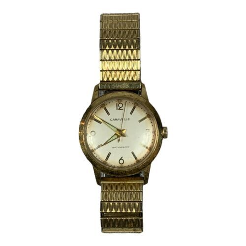 vintage Men's Caravelle waterproof wind up watch with band working condition - $29.69