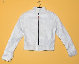New Milky White Front Zip Closure, high Neck Collar Women's Leather Bike... - $149.99