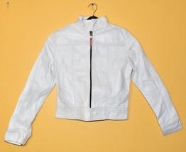 New Milky White Front Zip Closure, high Neck Collar Women's Leather Bike... - $149.99