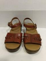 Dansko Brown Leather Sandles Us 7.5 Eu 38 Buckle Wedge Comfort Shoes - $42.06