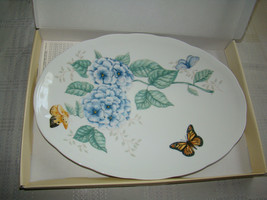 Lenox Butterfly Meadow Large Oval1 6-Inch Platter in Box Blue Flowers - $49.99