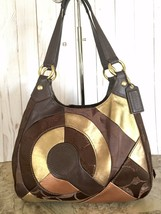 Coach F20032 Brass/Chocolate/brown Multi Inlaid Patchwork Hobo Handbag - $88.11