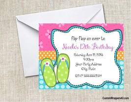 Flip Flops Luau Chalkboard Birthday Party Invitations Personalized Custom