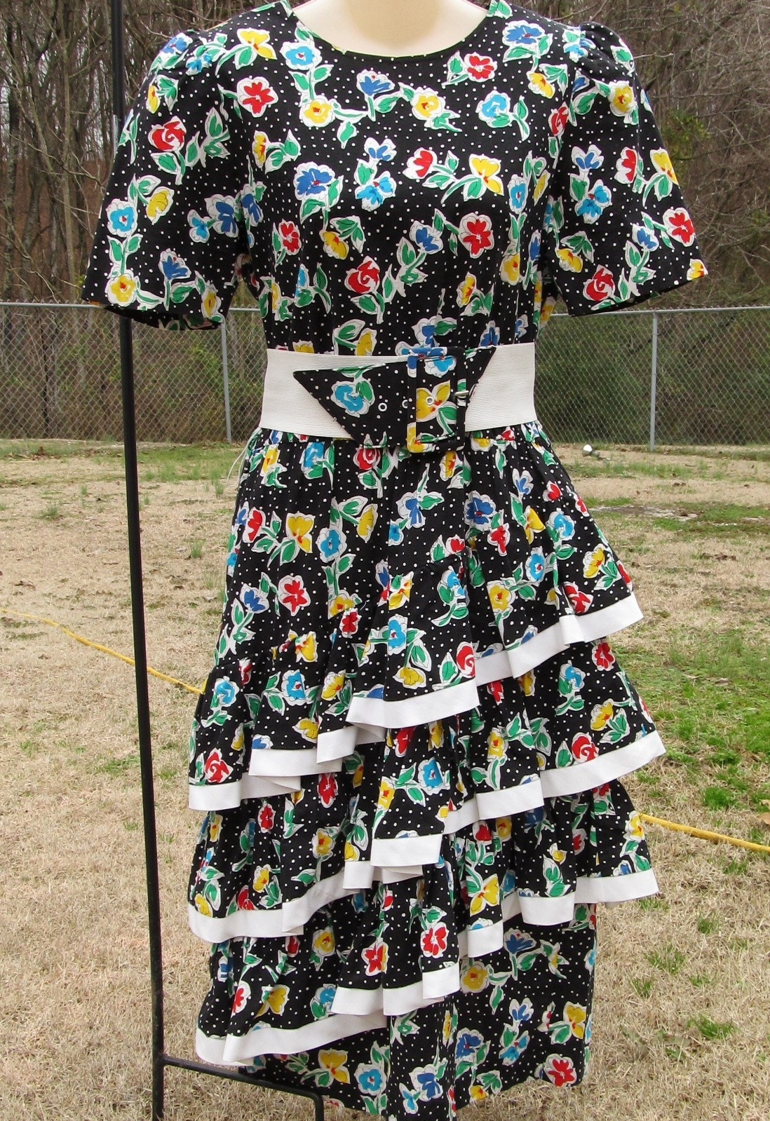 Vintage Straight Black Dress with 3 Cha Cha Layers 1980s Floral Design Size 11-1