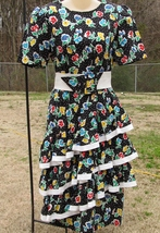 Vintage Straight Black Dress with 3 Cha Cha Layers 1980s Floral Design Size 11-1 image 1