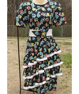 Vintage Straight Black Dress with 3 Cha Cha Layers 1980s Floral Design S... - $35.50