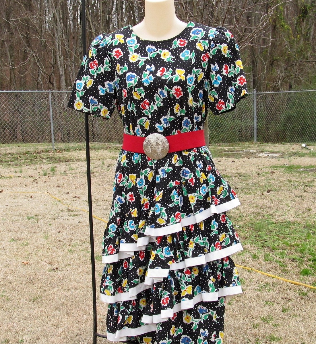 Vintage Straight Black Dress with 3 Cha Cha Layers 1980s Floral Design Size 11-1 image 3