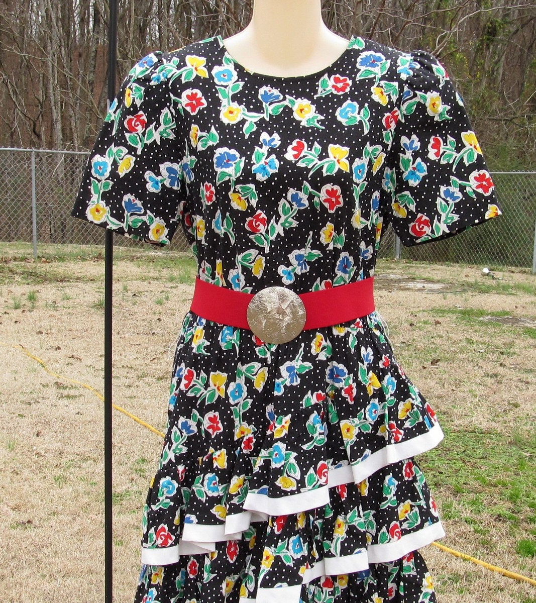 Vintage Straight Black Dress with 3 Cha Cha Layers 1980s Floral Design Size 11-1 image 4