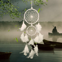 White Lace Flower Dream catcher Wind Chimes Decorations Feather Pendant ... - $13.47
