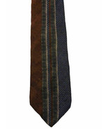 Kenneth Cole Reaction Unique Brown Blue Striped Silk Tie Made in USA - $6.92
