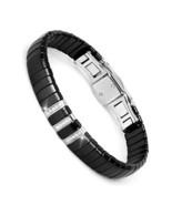New Fashion Black Charm Bracelet Ceramic Stainless Steel Crystal Link Br... - $35.45