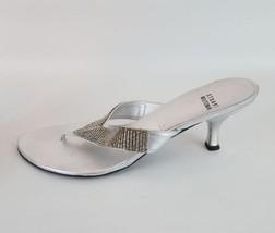 Stuart Weitzman rhinestone thong pumps silver leather women's 9M - $37.39