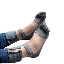 PANDA SUPERSTORE Gray Summer Low Cut Five Toes Socks Cotton Ankle Socks for Wome