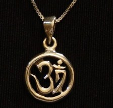 LOOK HINDU OM Gold Plated on solid Sterling Silver PENDANT Charm Jewelry - $20.03