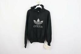 New Vintage 80s Adidas Mens Small Spell Out Trefoil Hoodie Sweatshirt Black - $79.15