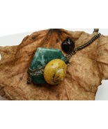 Stone Wonder necklace: aqua stone & natural, yellow snail shell with gla... - $34.00