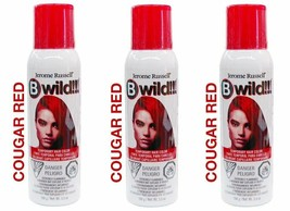 New 3 Pack Jerome Russell B Wild Temporary Hair Color Spray 3.5 OZ Cougar Red
