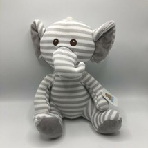 "Goffa International GRAY AND WHITE STRIPED KNIT SOCK ELEPHANT PLUSH 13"" ... - $34.64"