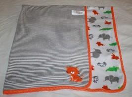 Carters Just One You Baby Blanket Orange Tiger Elephant Alligator Gray S... - $35.77