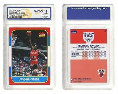 "MICHAEL JORDAN 1986-1996 FLEER #4 ""DECADE OF EXCELLENCE"" WCG GEM MT-10! BULLS"