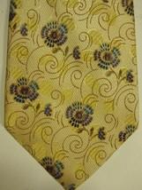 NEW Ermenegildo Zegna Light Gold W/Blue Purple Stylized Flowers Tie - $96.90