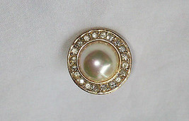 Roman Pin Brooch Rhinestones Surrounding Large Faux Pearl Goldtone Metal... - $19.99