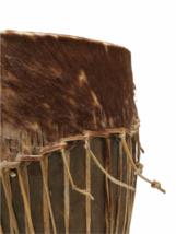 "Vintage HANDMADE Large Native American Cow Hide Wood Drum Almost 19"" High image 3"