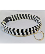 "Paracord 550 Dog Collar Black & White Fish Tail Design 13"" Black Quick R... - $15.00"
