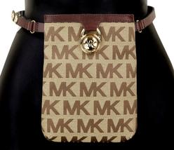 Michael Kors MK Women's Cut Out Leather Canvas Purse Belt Fanny Pack Bag 551501 image 6