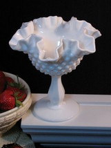 Fenton Milk Glass Hobnail Ruffled Footed Candy Compote Vintage 1970s - $27.99