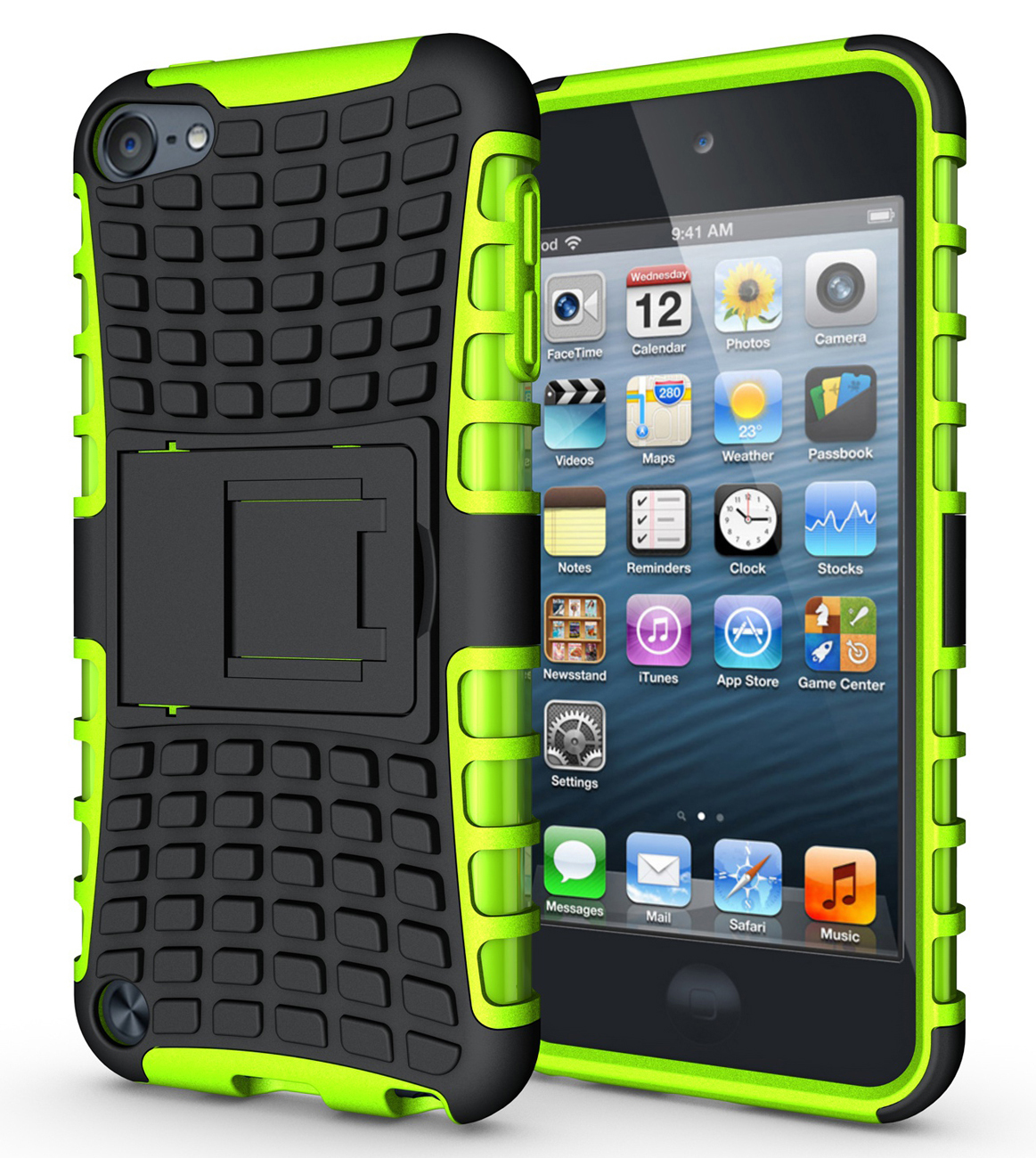 Ckstand hard soft rubber hybrid case cover for apple ipod touch 6th gen green p20151206153042514