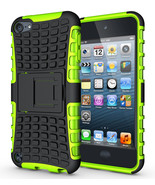Hard & Soft Rubber Hybrid Case Cover For Apple iPod Touch 6th Gen - Green  - $4.99