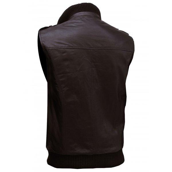 QASTAN Men's New Brown Soft Bomber Superb Motorbike Leather Moto Vest QMV04 image 3